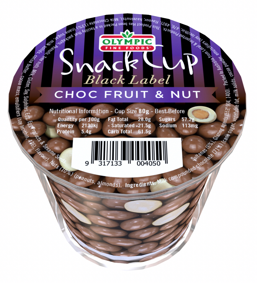 Snack Cup – Black Label Choc Fruit & Nut